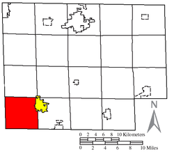 Location of Richmond Township (red) in Huron County, next to the city of Willard (yellow)