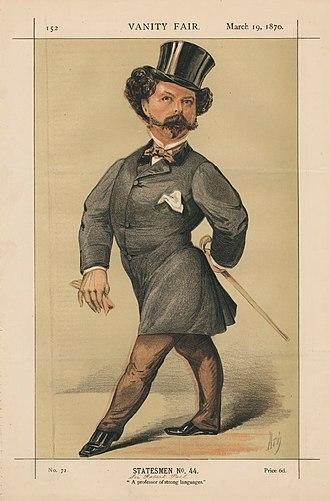 "Sir Robert Peel, 3rd Baronet - ""A professor of strong languages"" Peel as caricatured in Vanity Fair, March 1870"