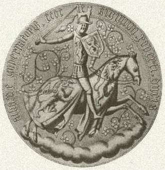 Robert Stewart, Duke of Albany - Lithograph of the reverse of the 1413 seal of Robert Stewart as Governor of Scotland