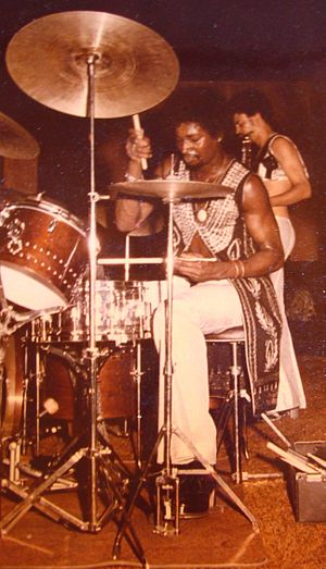 Robin Russell - Robin Russell drumming with New Birth at the Total Experience Night Club on Crenshaw Blvd., Los Angeles, CA  - 1974.