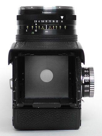 Rolleiflex - The camera is held at the waist, with the viewfinder mounted on top (here, a Rolleiflex SLX).