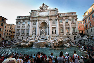 Mass tourism at the Trevi Fountain in Rome, Italy Rom fountain of Trevi.jpg