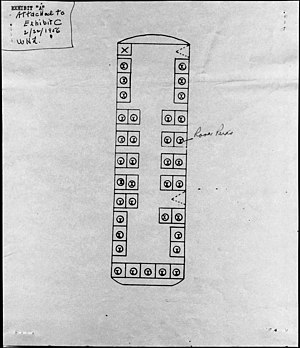 Montgomery bus boycott - A diagram showing the location where Rosa Parks sat which was in the unreserved section at the time of her arrest