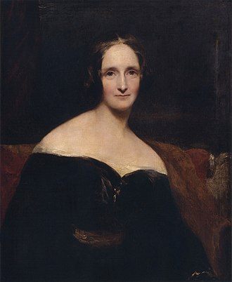 "Mary Shelley - Richard Rothwell's portrait of Mary Shelley was shown at the Royal Academy in 1840, accompanied by lines from Percy Shelley's poem The Revolt of Islam calling her a ""child of love and light""."