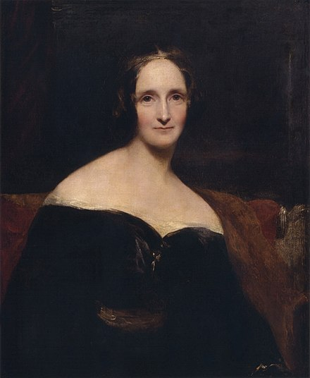 "Richard Rothwell's portrait of Shelley was shown at the Royal Academy in 1840, accompanied by lines from Percy Shelley's poem ""The Revolt of Islam"" calling her a ""child of love and light"". RothwellMaryShelley.jpg"