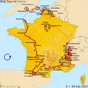 1994 Tour de France - Route of the 1994 Tour de France