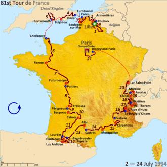 1994 Tour de France - Route of the 1994 Tour de France