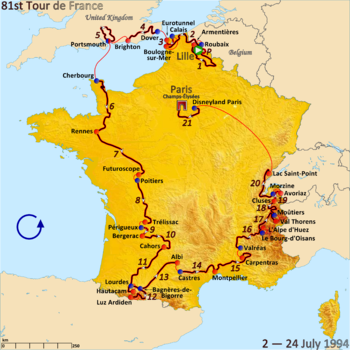 Route of the 1994 Tour de France