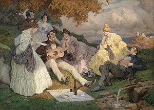 Rudolf Alfred Höger - Fröhliche Sangesrunde mit einer Donaulandschaft, 1900,  oil, 90 x 124 cm