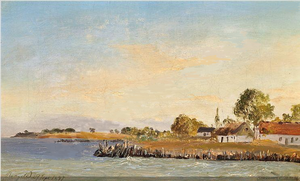 Rungsted - Rungsted Harbour painted by Emanuel Larsen in 1847