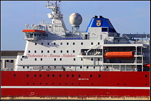 S. A. Agulhas II - The text on the superstructure shows that S. A. Agulhas II is dedicated to the singer Miriam Makeba