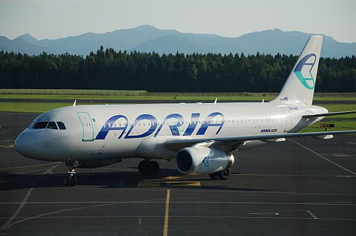 Adria Airways Airbus A320-200 at Ljubljana Jože Pučnik Airport