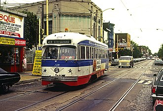 SEPTA Route 23 - A Route 23 PCC Streetcar on Germantown Avenue at Venango Street in 1980.