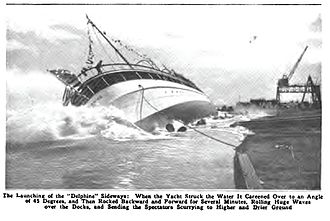 SS Delphine (1921) - SS Delphine launched April 1921. Caption from Popular Mechanics magazine.