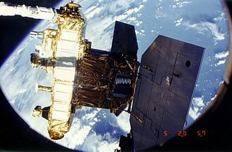 Earth Radiation Budget Satellite - ERBS during deployment on STS-41-G