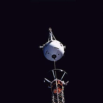 Space tether - Medium close-up view, captured with a 70 mm camera, shows Tethered Satellite System deployment.