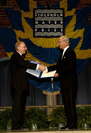 Stockholm Water Prize -  International Water Management Institute accepts the prize from Carl XVI Gustaf in 2012.