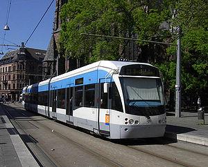 Saarbahn - A Saarbahn train near Johanneskirche in central Saarbrücken