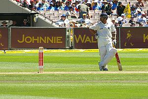 Sachin Tendulkar - Tendulkar waits at the bowler's end.