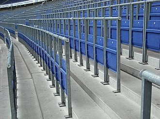 "Safe standing - A ""safe standing"" area, using rail seats, at the HDI Arena in Hannover, Germany."