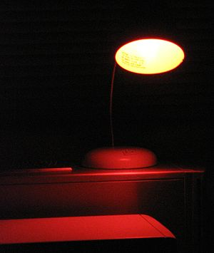 Safelight - An amber (light brown) safelight for use with certain black-and-white photographic papers