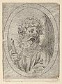 Saint Paul holding a sword, in an oval frame, from Christ, the Virgin, and Thirteen Apostles MET DP837889.jpg