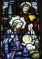 Saint Vincent de Paul Catholic Church (Mount Vernon, Ohio) - stained glass, Holy Family at the Nativity of the Lord (detail).JPG