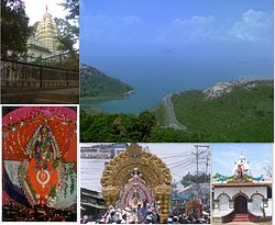 From top left to right: Budharaja Temple, Hirakud Reservoir, Gandhi Temple, Sitalsasthi Carnival, Samaleswari Temple