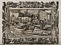 Samson carries the gates of Gaza out of the city. Woodcut. Wellcome V0034293.jpg