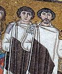 San vitale, ravenna, int., presbiterio, mosaici di giustiniano e la sua corte 06.jpg