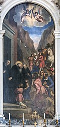 Santa Giustina (Padua) - St. Benedict welcomes his disciples, Maurus and Placidus by Palma Il Giovane.jpg