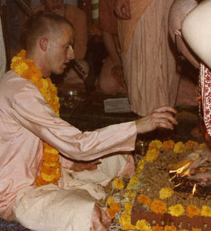 Diksha -  Satsvarupa das Goswami During ISKCON diksa ceremony in 1979.