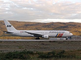 Scandinavian Airlines - SAS operated flights to Greenland for more than 50 years until March 2003, the route re-opened spring 2007 until January 2009. The Boeing 767-383ER at Kangerlussuaq Airport (2001)