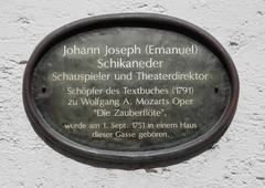 Schikaneder's birthplace (Straubing). Click on image for translation. (Source: Wikimedia)