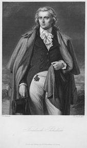 Bildnis Schillers aus der Schiller-Galerie, Stahlstich von Raab nach Pecht, um 1865 (Quelle: Wikimedia)