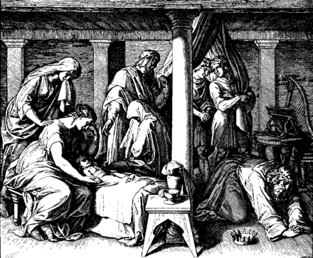 "This 1860 woodcut by Julius Schnorr von Karolsfeld depicts the death of Bathsheba's first child with David, who lamented, ""I shall go to him, but he will not return to me"" (2 Samuel 12:23) Schnorr von Carolsfeld Bibel in Bildern 1860 103.png"