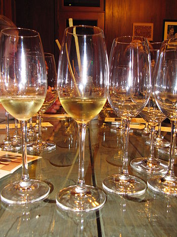 English: Wine glasses from the tasting room at...