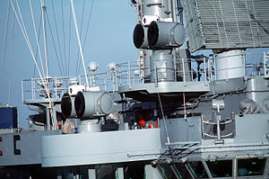 RIM-7 Sea Sparrow - Two MK-95 unmanned illumination radars used to guide a Sea Sparrow to its target.