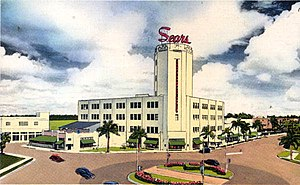 Sears, Roebuck and Company Department Store (Miami, Florida) - Artist rendering of the Sears, Roebuck and Company Department Store in a postcard