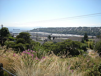 Smith Cove (Washington) - The former Smith Cove tideflats seen from Soundview Terrace on Queen Anne Hill. The hill in the background is part of Magnolia. The former tideflats lie between the two hills.