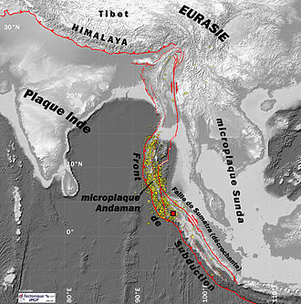 2004 Indian Ocean earthquake and tsunami - The epicenter of the 2004 Indian Ocean earthquake and associated aftershocks in French.