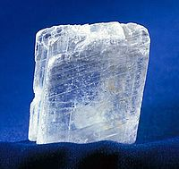 Fibrous gypsum selenite showing its translucent property
