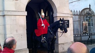 Household Cavalry Mounted Regiment - A sentry of the Life Guards outside Horse Guards Parade
