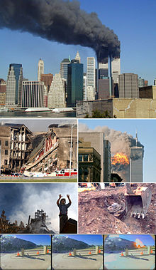 A montage of eight images depicting, from top to bottom, the World Trade Center towers burning, the collapsed section of the Pentagon, the impact explosion in the South Tower, a rescue worker standing in front of rubble of the collapsed towers, an excavator unearthing a smashed jet engine, three frames of video depicting American Airlines Flight 77 hitting the Pentagon