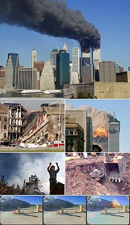 Bildbeschreibung von oben nach unten: 1. Die brennenden Twin Towers des World Trade Centers 2. Eingestürzter Gebäudeteil des Pentagons 3. Flug 175 schlägt um 9:03 Uhr im Südturm (WTC 2) ein 4. Ein Feuerwehrmann des FDNY bittet am Ground Zero um Hilfe 5. Triebwerkbergung von Flug 93 in der Nähe von Shanksville 6.- 8. Aufnahmen vom Einschlag von Flug 77 ins Pentagon