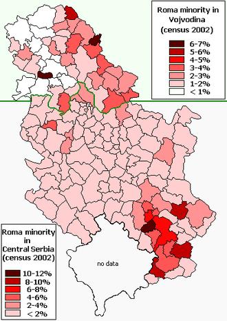 Romani people in Serbia - Romani minority in Serbia (2002 census).