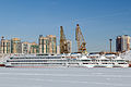 Sergey Dyagilev and Maxim Litvinov and Mikhail Sholokhov in Winter at Moscow North River Port Stern-Port View 10-feb-2015.jpg
