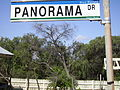 Shire of Waroona street sign for Panorama Dr, Preston Beach closeup (E37@WTW2013).JPG