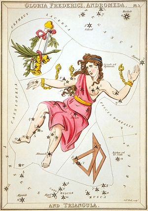 Triangulum Minus - Triangula, the pair of triangles, can be seen in this plate from Urania's Mirror. Triangulum Minus is the one on the right, but the stars that define it are too faint to be included on this chart.
