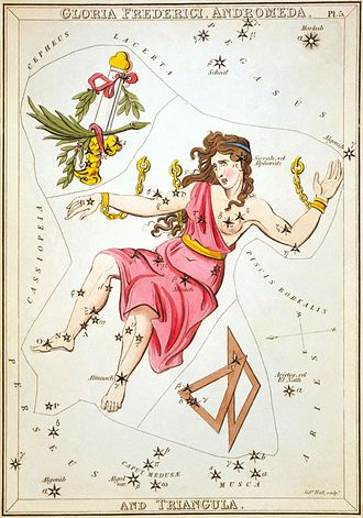 Andromeda (constellation) - Andromeda as depicted in Urania's Mirror, a set of constellation cards published in London c. 1825, showing the constellation from the inside of the celestial sphere